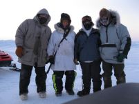 UMIAQ science support staff on the sea ice near Barrow, Alaska. Photo: Faustine Bernadac
